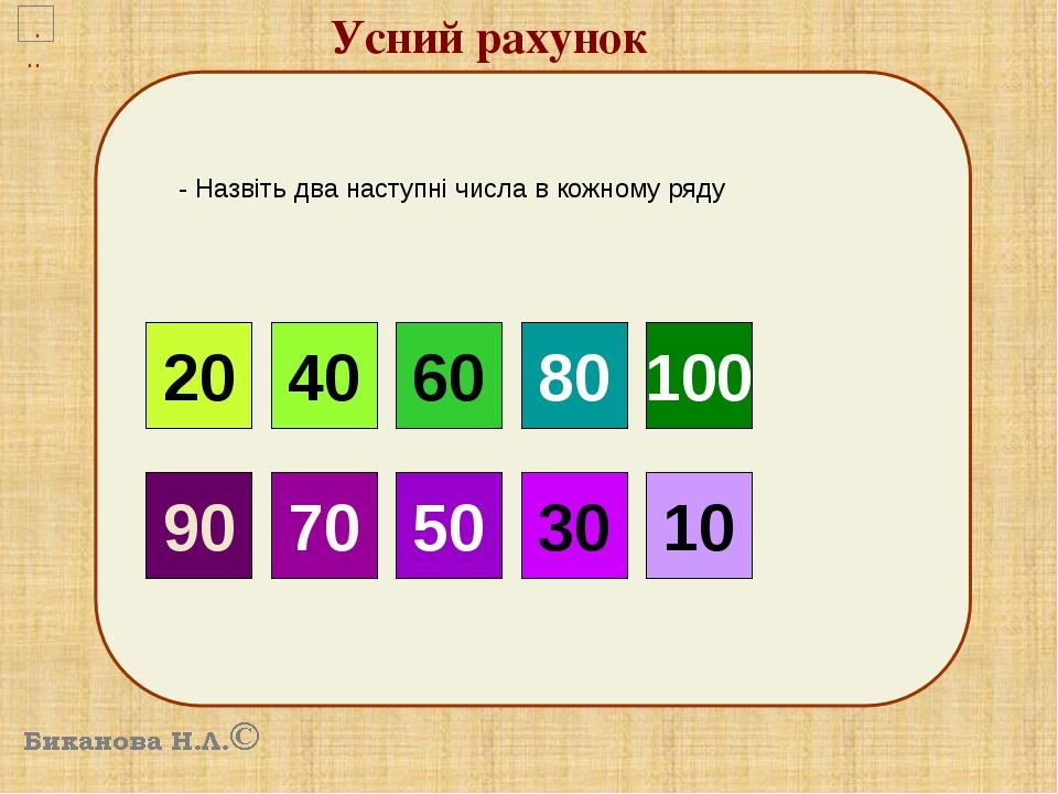 Усний рахунок 10 - Назвіть два наступні числа в кожному ряду 20 40 60 90 70 50 80 100 30 10