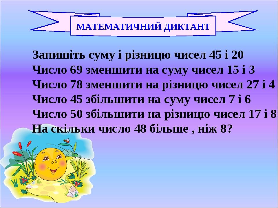 МАТЕМАТИЧНИЙ ДИКТАНТ Запишіть суму і різницю чисел 45 і 20 Число 69 зменшити на суму чисел 15 і 3 Число 78 зменшити на різницю чисел 27 і 4 Число 4...