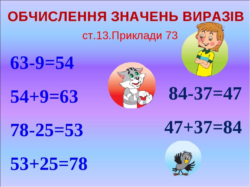 ОБЧИСЛЕННЯ ЗНАЧЕНЬ ВИРАЗІВ 63-9=54 54+9=63 78-25=53 53+25=78 84-37=47 47+37=84 ст.13.Приклади 73