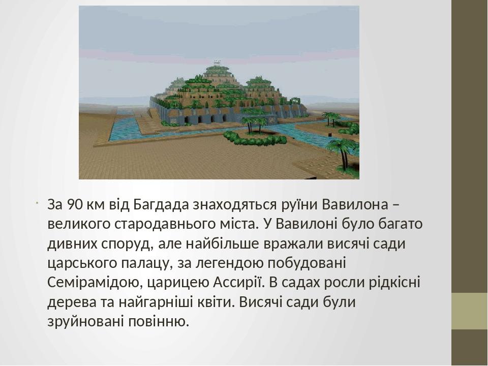 За 90 км від Багдада знаходяться руїни Вавилона – великого стародавнього міста. У Вавилоні було багато дивних споруд, але найбільше вражали висячі ...
