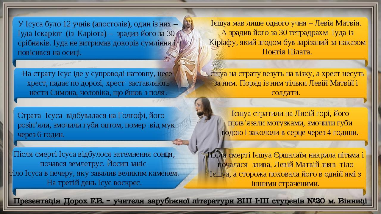 У Ісуса було 12 учнів (апостолів), один із них – Іуда Іскаріот (із Каріота) – зрадив його за 30 срібняків. Іуда не витримав докорів сумління і пові...