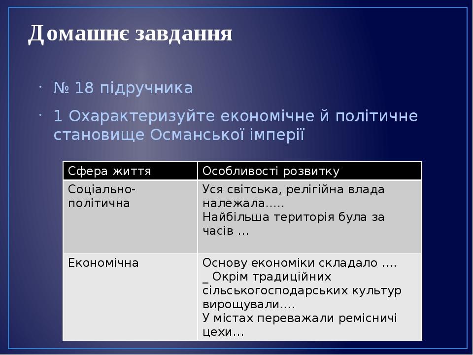 Домашнє завдання № 18 підручника 1 Охарактеризуйте економічне й політичне становище Османської імперії Сфера життя Особливості розвитку Соціально-п...