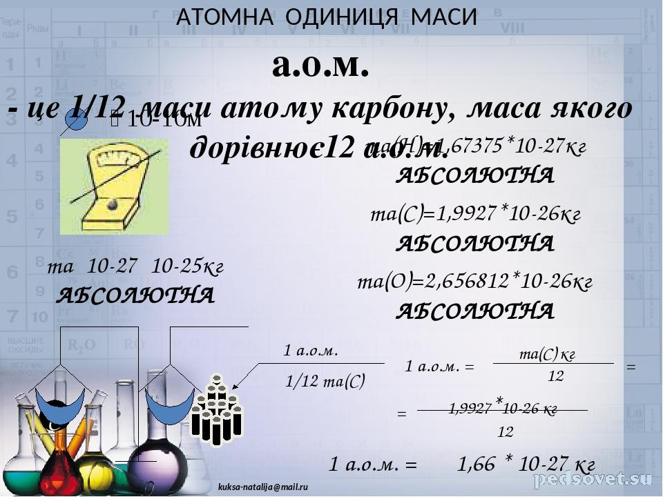 АТОМНА ОДИНИЦЯ МАСИ  10-10м ma10-2710-25кг АБСОЛЮТНА ma(H)=1,67375*10-27кг АБСОЛЮТНА ma(C)=1,9927*10-26кг АБСОЛЮТНА ma(O)=2,656812*10-26кг АБСОЛ...