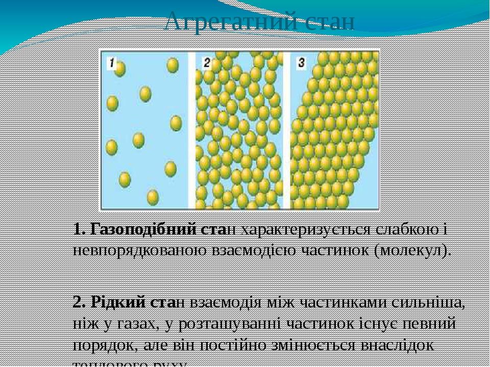 Агрегатний стан 1. Газоподібний стан характеризується слабкою і невпорядкованою взаємодією частинок (молекул). 2. Рідкий стан взаємодія між частинк...