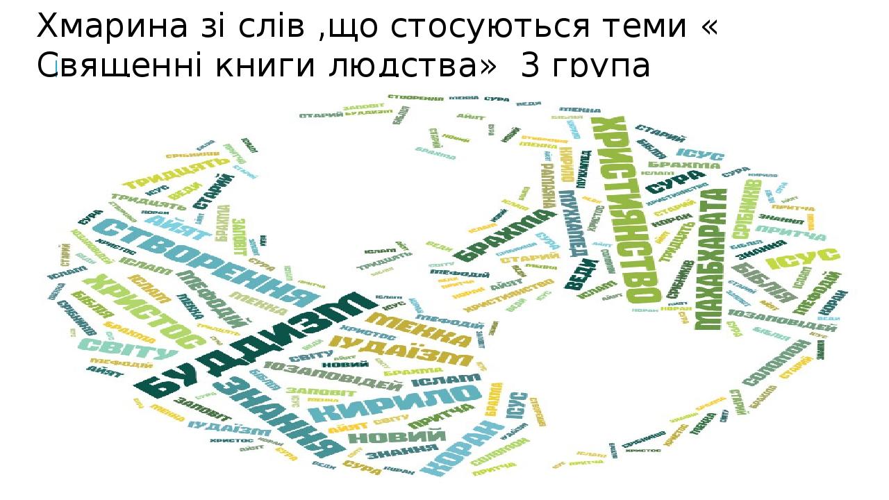 Хмарина зі слів ,що стосуються теми « Священні книги людства» 3 група