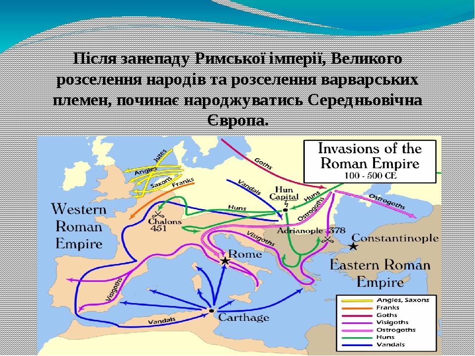 Після занепаду Римської імперії, Великого розселення народів та розселення варварських племен, починає народжуватись Середньовічна Європа.