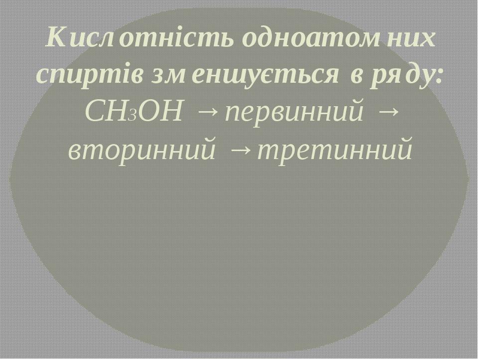 Кислотність одноатомних спиртів зменшується в ряду: СН3ОН → первинний → вторинний → третинний