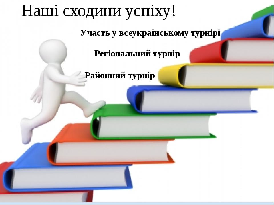 Наші сходини успіху! Районний турнір Регіональний турнір Участь у всеукраїнському турнірі