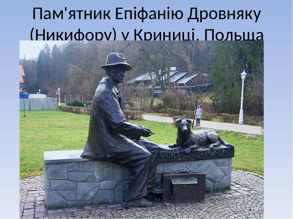 Пам'ятник Епіфанію Дровняку (Никифору) у Криниці, Польща