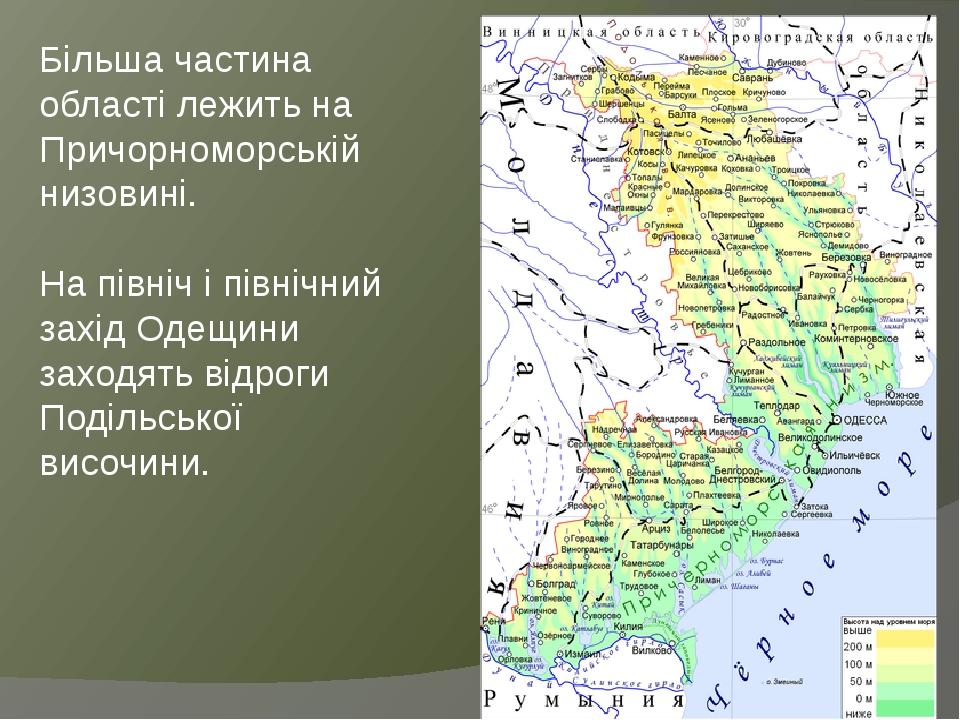 Більша частина області лежить на Причорноморській низовині. На північ і північний захід Одещини заходять відроги Подільської височини.
