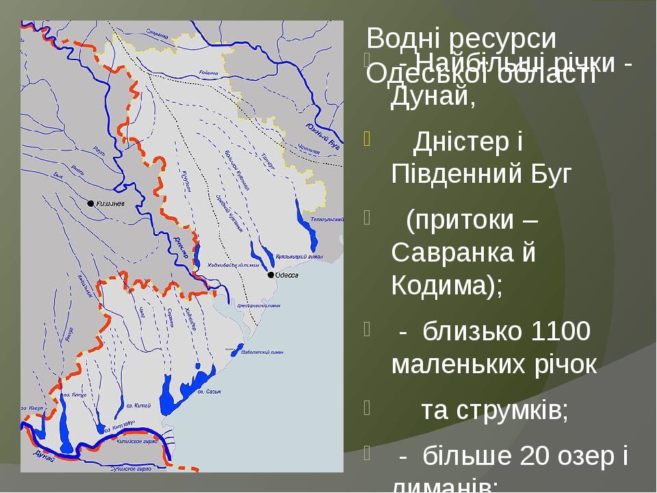 Водні ресурси Одеської області - Найбільші річки - Дунай, Дністер і Південний Буг (притоки – Савранка й Кодима); - близько 1100 маленьких річок та ...