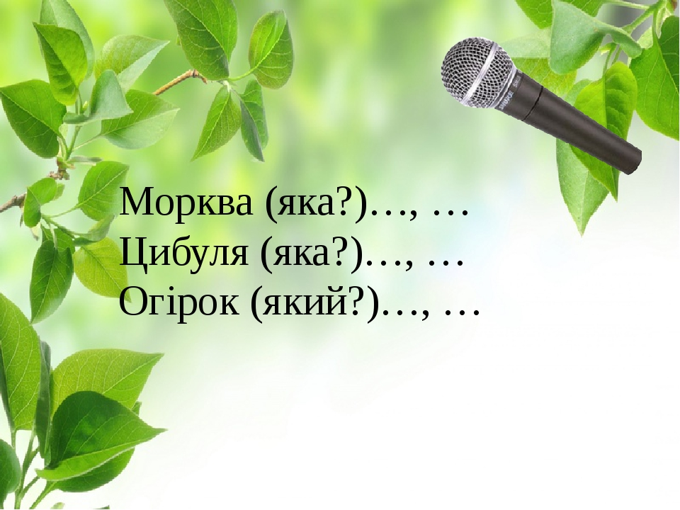 Морква (яка?)…, … Цибуля (яка?)…, … Огірок (який?)…, …