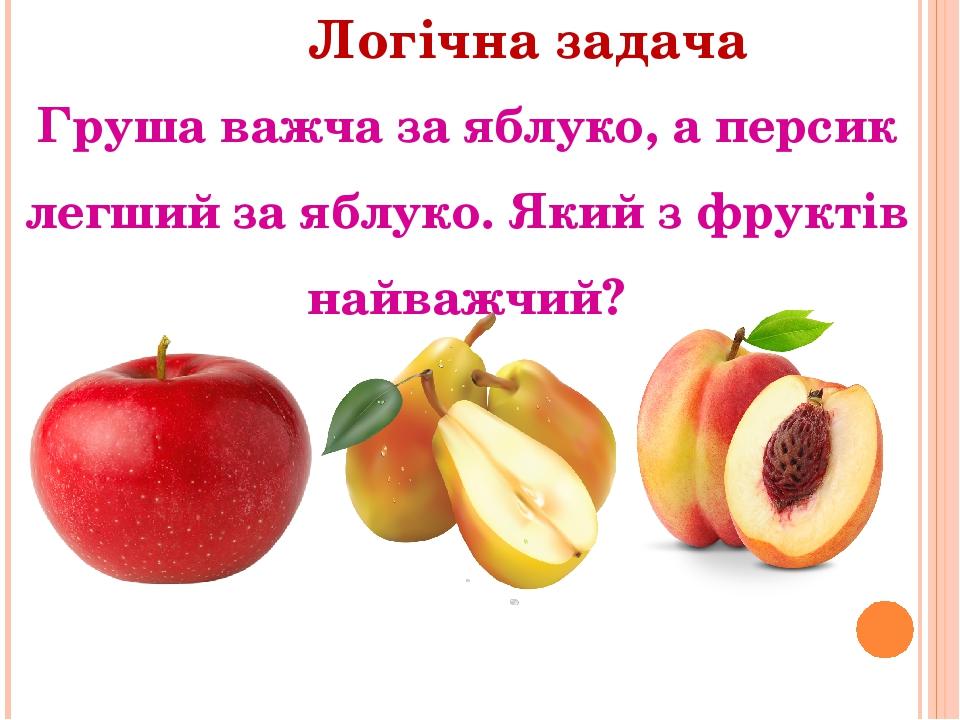 Логічна задача Груша важча за яблуко, а персик легший за яблуко. Який з фруктів найважчий?