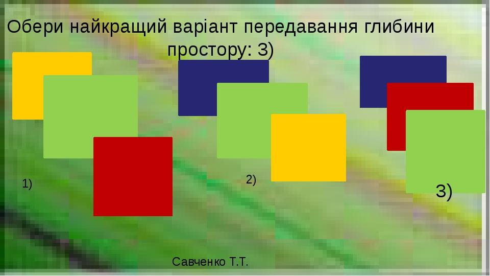 Савченко Т.Т. Обери найкращий варіант передавання глибини простору: 3) 1) 2) 3)