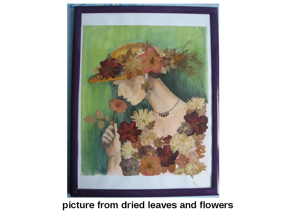 picture from dried leaves and flowers