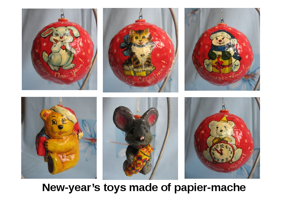 New-year's toys made of papier-mache