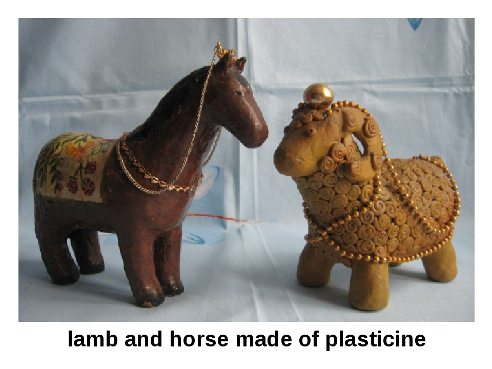lamb and horse made of plasticine