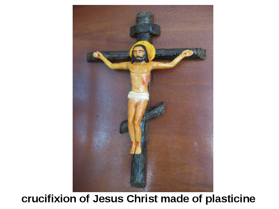 crucifixion of Jesus Christ made of plasticine