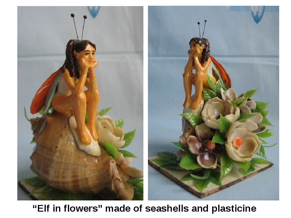 """Elf in flowers"" made of seashells and plasticine"