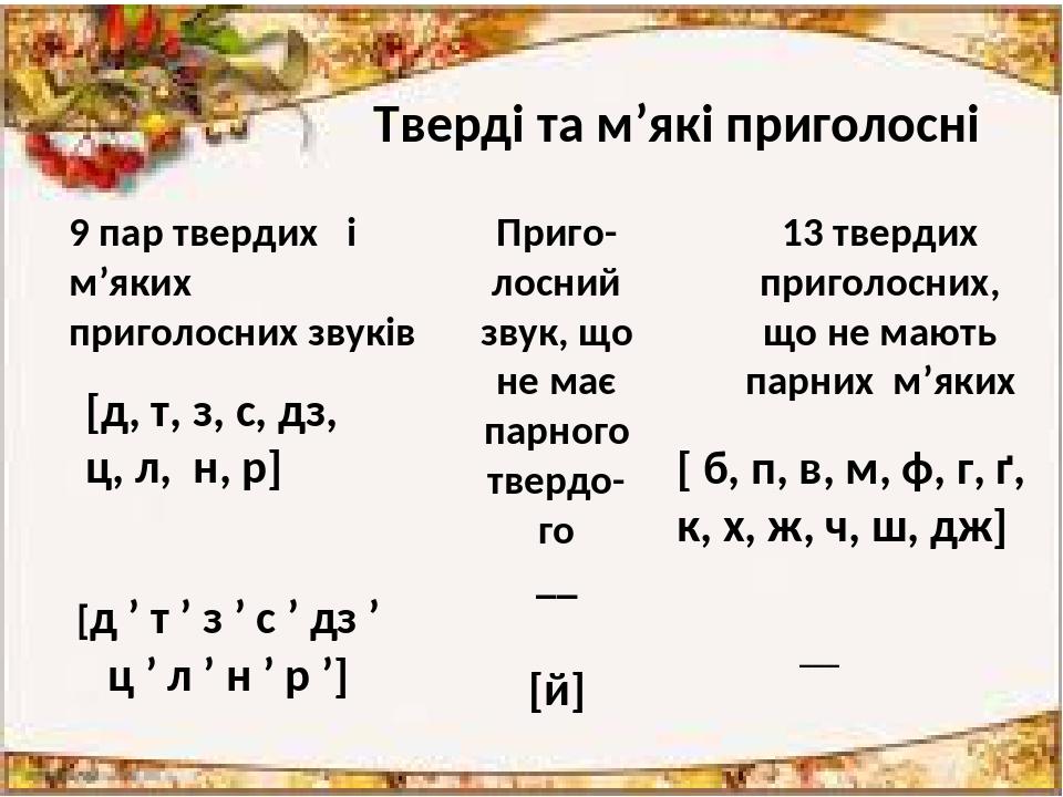 Тверді та м'які приголосні 9 пар твердих і м'яких приголосних звуків [д, т, з, с, дз, ц, л, н, р] [д ' т ' з ' с ' дз ' ц ' л ' н ' р '] Приго- лос...