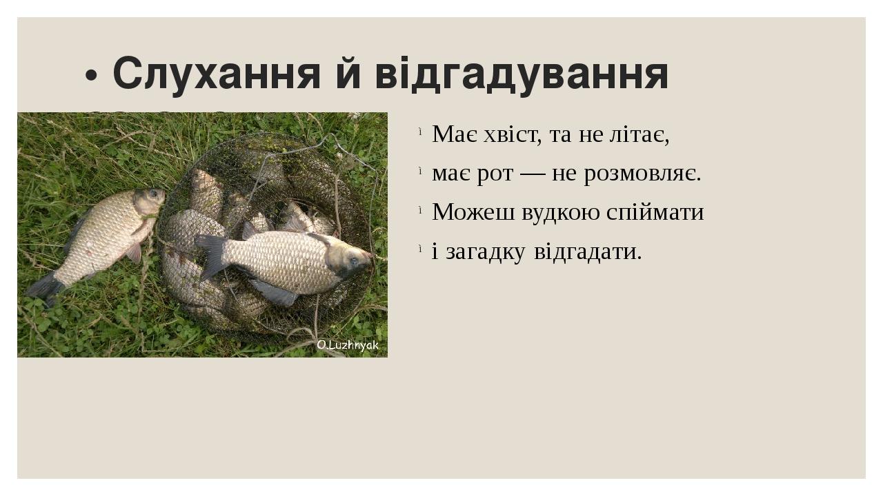 • Слухання й відгадування загадок. Має хвіст, та не літає, має рот — не розмовляє. Можеш вудкою спіймати і загадку відгадати.