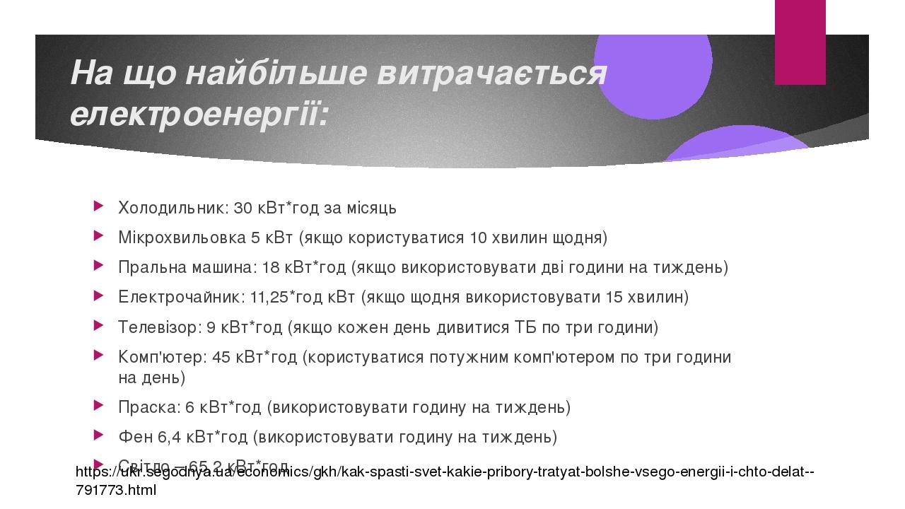 На що найбільше витрачається електроенергії: Холодильник: 30 кВт*год за місяць Мікрохвильовка 5 кВт (якщо користуватися 10 хвилин щодня) Пральна ма...