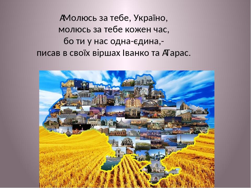 Молюсь за тебе, Україно, молюсь за тебе кожен час, бо ти у нас одна-єдина,- писав в своїх віршах Іванко та Тарас.