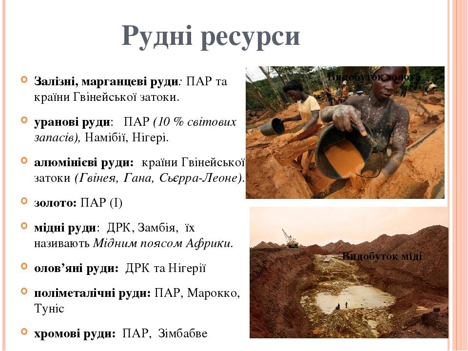 Рудні ресурси Залізні, марганцеві руди: ПАР та країни Гвінейської затоки. уранові руди: ПАР (10 % світових запасів), Намібії, Нігері. алюмінієві...