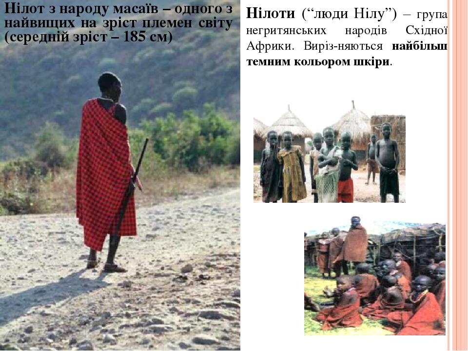 """Нілоти (""""люди Нілу"""") – група негритянських народів Східної Африки. Виріз-няються найбільш темним кольором шкіри. Нілот з народу масаїв – одного з н..."""