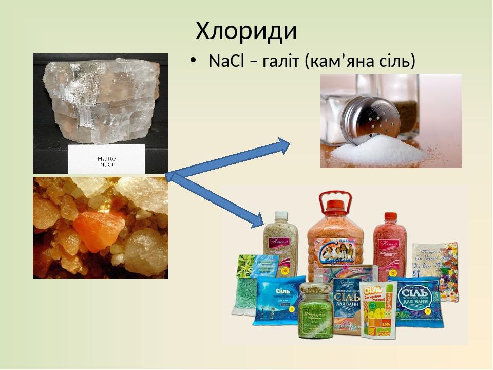 Хлориди NaCl – галіт (кам'яна сіль)