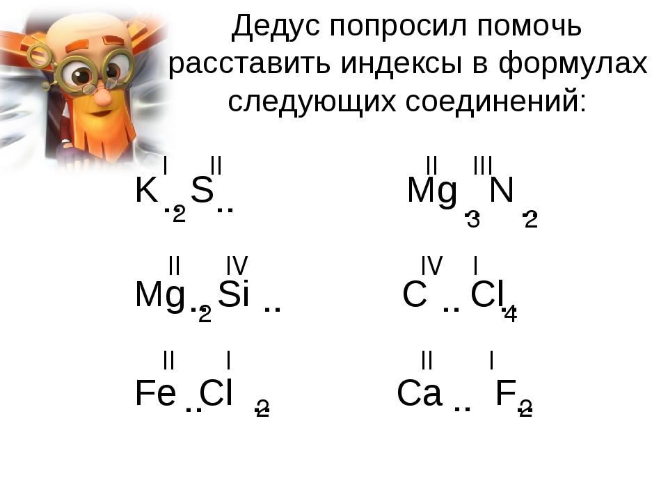 Дедус попросил помочь расставить индексы в формулах следующих соединений: K S Mg N Mg Si C Cl Fe Cl Ca F II IV II III I I I II I II IV II 2 2 2 .. ...