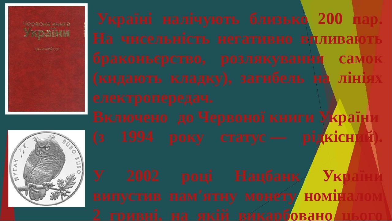 Україні налічують близько 200 пар. На чисельність негативно впливають браконьєрство, розлякування самок (кидають кладку), загибель на лініях елект...