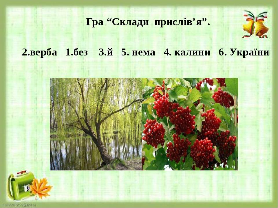 """Гра """"Склади прислів'я"""". 2.верба 1.без 3.й 5. нема 4. калини 6. України"""