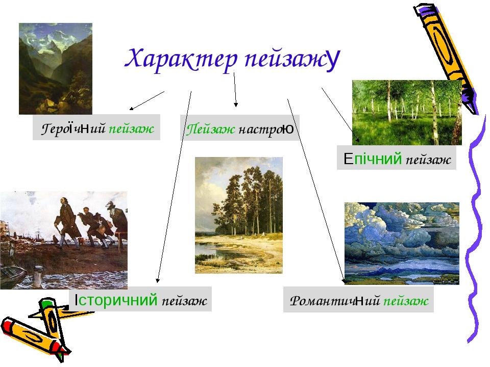 Характер пейзажу Героїчний пейзаж Пейзаж настрою Історичний пейзаж Епічний пейзаж Романтичний пейзаж
