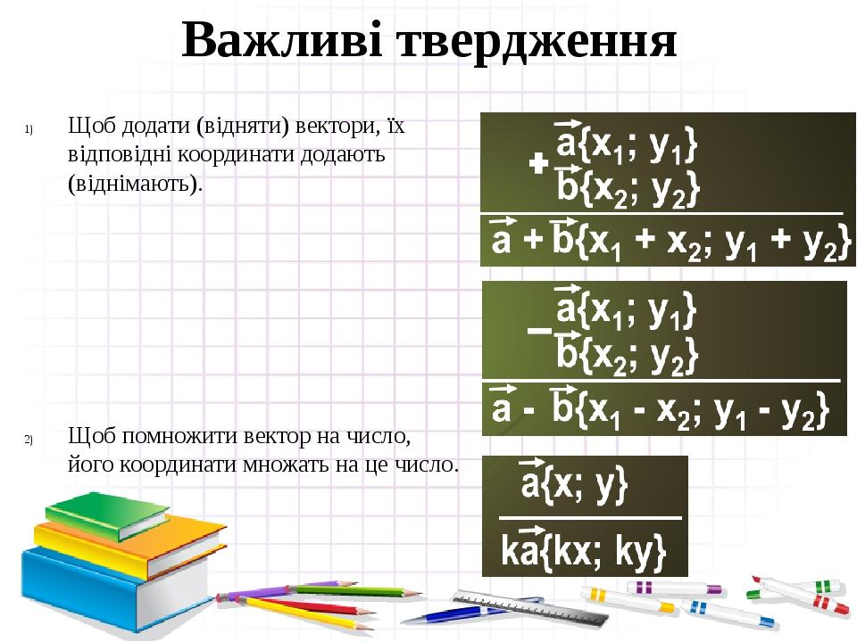 Важливі твердження Щоб додати (відняти) вектори, їх відповідні координати додають (віднімають). Щоб помножити вектор на число, його координати множ...