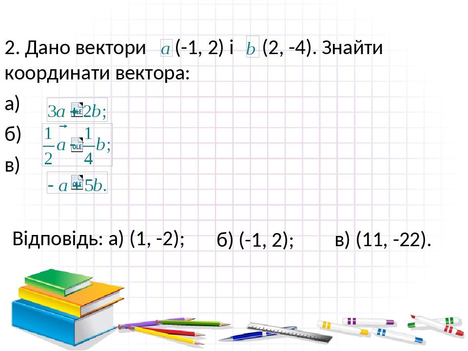 Відповідь: а) (1, -2); 2. Дано вектори (-1, 2) і (2, -4). Знайти координати вектора: а) б) в) б) (-1, 2); в) (11, -22). В режиме слайдов ответы поя...