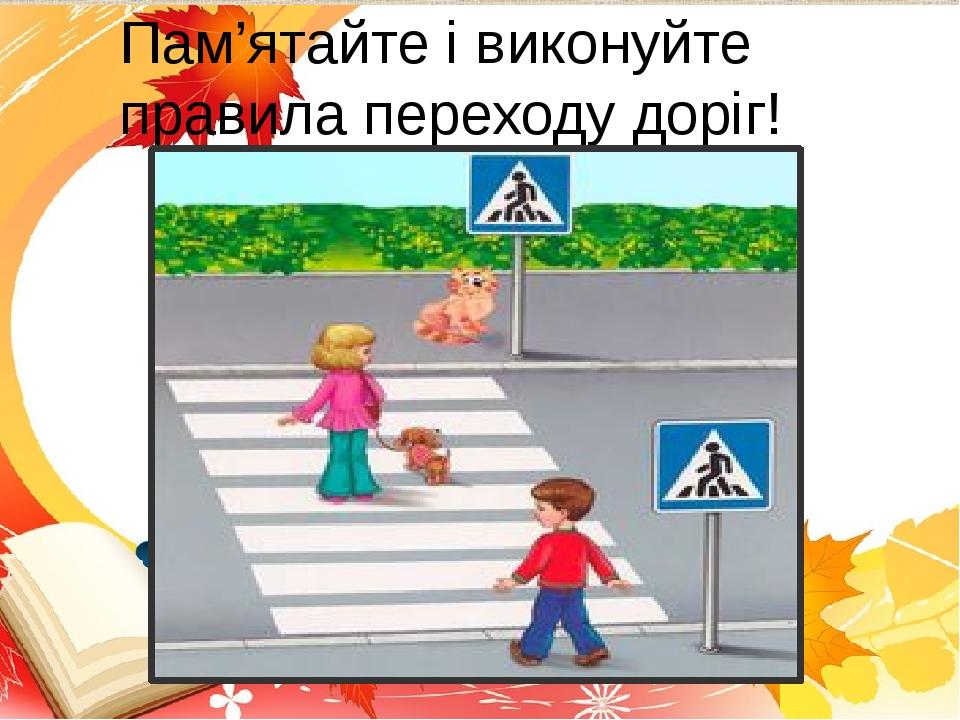 Пам'ятайте і виконуйте правила переходу доріг!