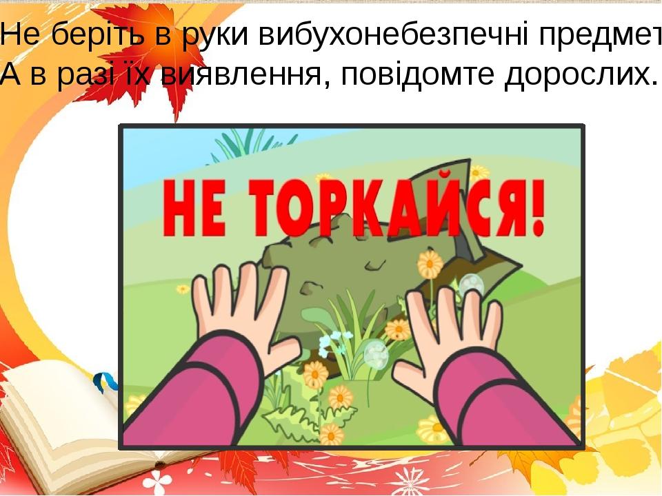 Не беріть в руки вибухонебезпечні предмети! А в разі їх виявлення, повідомте дорослих.