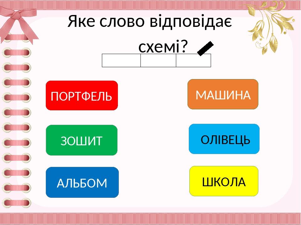 Яке слово відповідає схемі? ПОРТФЕЛЬ АЛЬБОМ ЗОШИТ МАШИНА ОЛІВЕЦЬ ШКОЛА