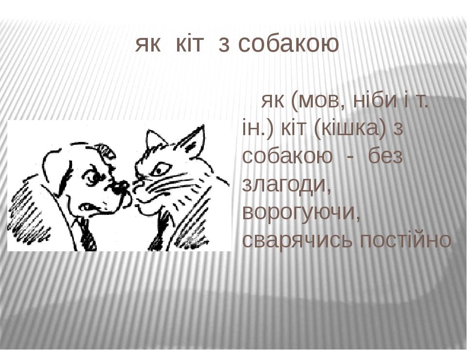 як кіт з собакою як (мов, ніби і т. ін.) кіт (кішка) з собакою - без злагоди, ворогуючи, сварячись постійно