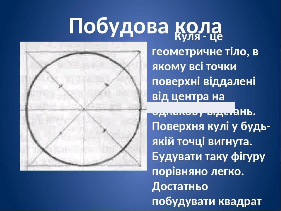 Побудова кола Куля - це геометричне тіло, в якому всі точки поверхні віддалені від центра на однакову відстань. Поверхня кулі у будь-якій точці виг...