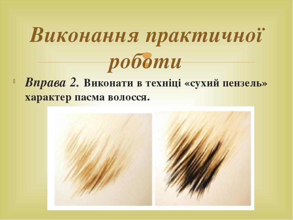 Вправа 2. Виконати в техніці «сухий пензель» характер пасма волосся. Виконання практичної роботи 