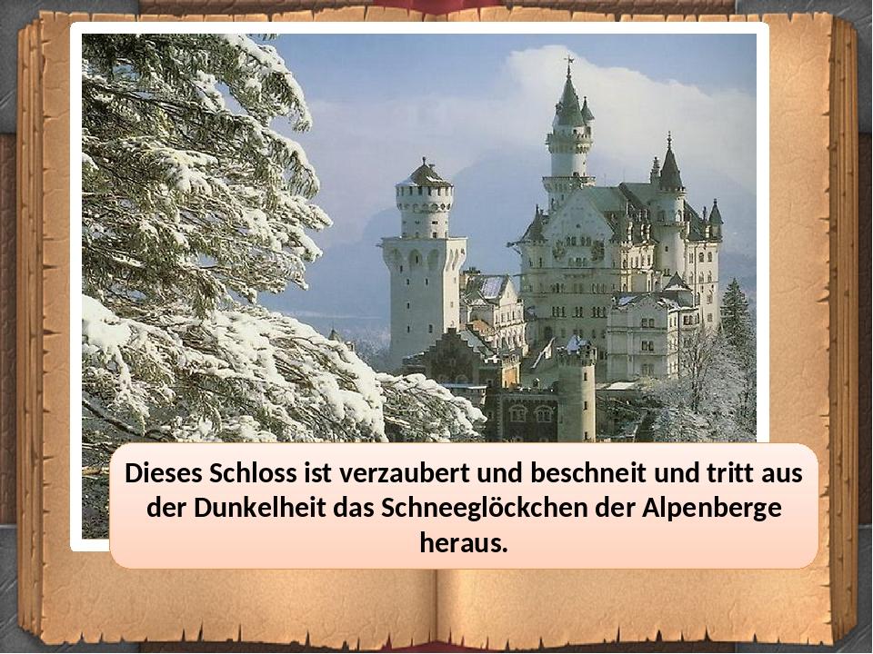 Dieses Schloss ist verzaubert und beschneit und tritt aus der Dunkelheit das Schneeglöckchen der Alpenberge heraus.