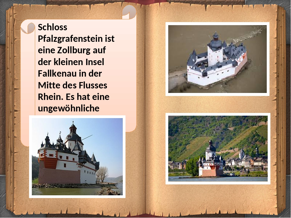Schloss Pfalzgrafenstein ist eine Zollburg auf der kleinen Insel Fallkenau in der Mitte des Flusses Rhein. Es hat eine ungewöhnliche Form eines Sch...