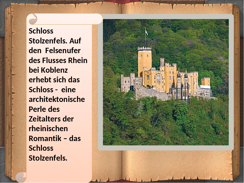 Schloss Stolzenfels. Auf den Felsenufer des Flusses Rhein bei Koblenz erhebt sich das Schloss - eine architektonische Perle des Zeitalters der rhei...