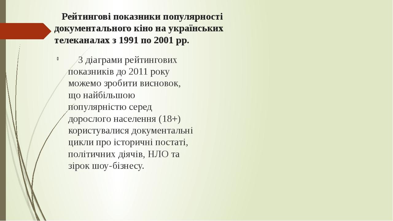Рейтингові показники популярності документального кіно на українських телеканалах з 1991 по 2001 рр. З діаграми рейтингових показників до 2011 року...