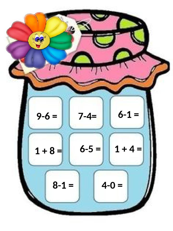 4-0 = 7-4= 9-6 = 1 + 8 = 6-5 = 6-1 = 1 + 4 = 8-1 =