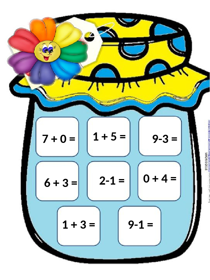 1 + 5 = 6 + 3 = 2-1 = 0 + 4 = 1 + 3 = 9-1 = 9-3 = 7 + 0 =