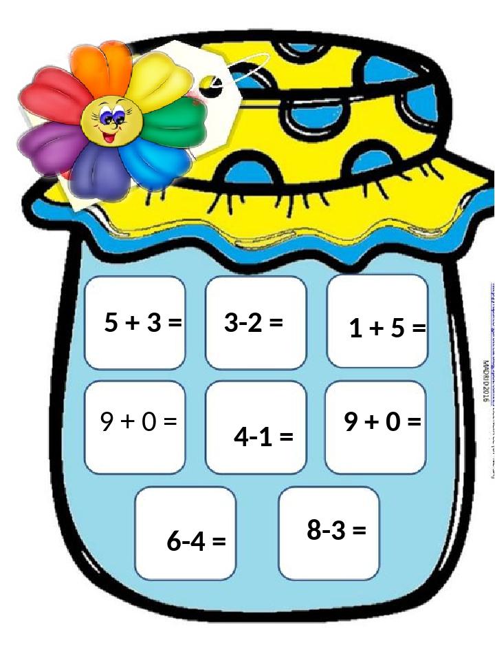 3-2 = 5 + 3 = 9 + 0 = 6-4 = 4-1 = 8-3 = 1 + 5 = 9 + 0 =