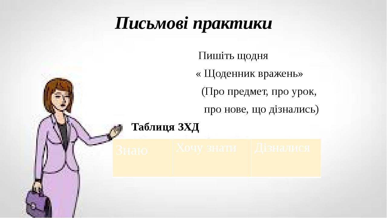 Письмові практики Пишіть щодня « Щоденник вражень» (Про предмет, про урок, про нове, що дізнались) Таблиця ЗХД Знаю Хочу знати Дізналися